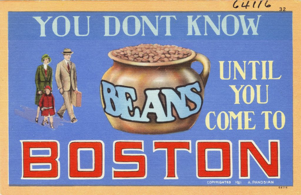 Vintage postcard, you don't know beans until you come to Boston