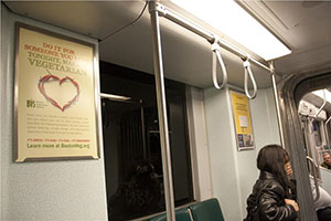 BVS ad appearing on a subway car - Do it for someone you love. Tonight, make it vegetarian.