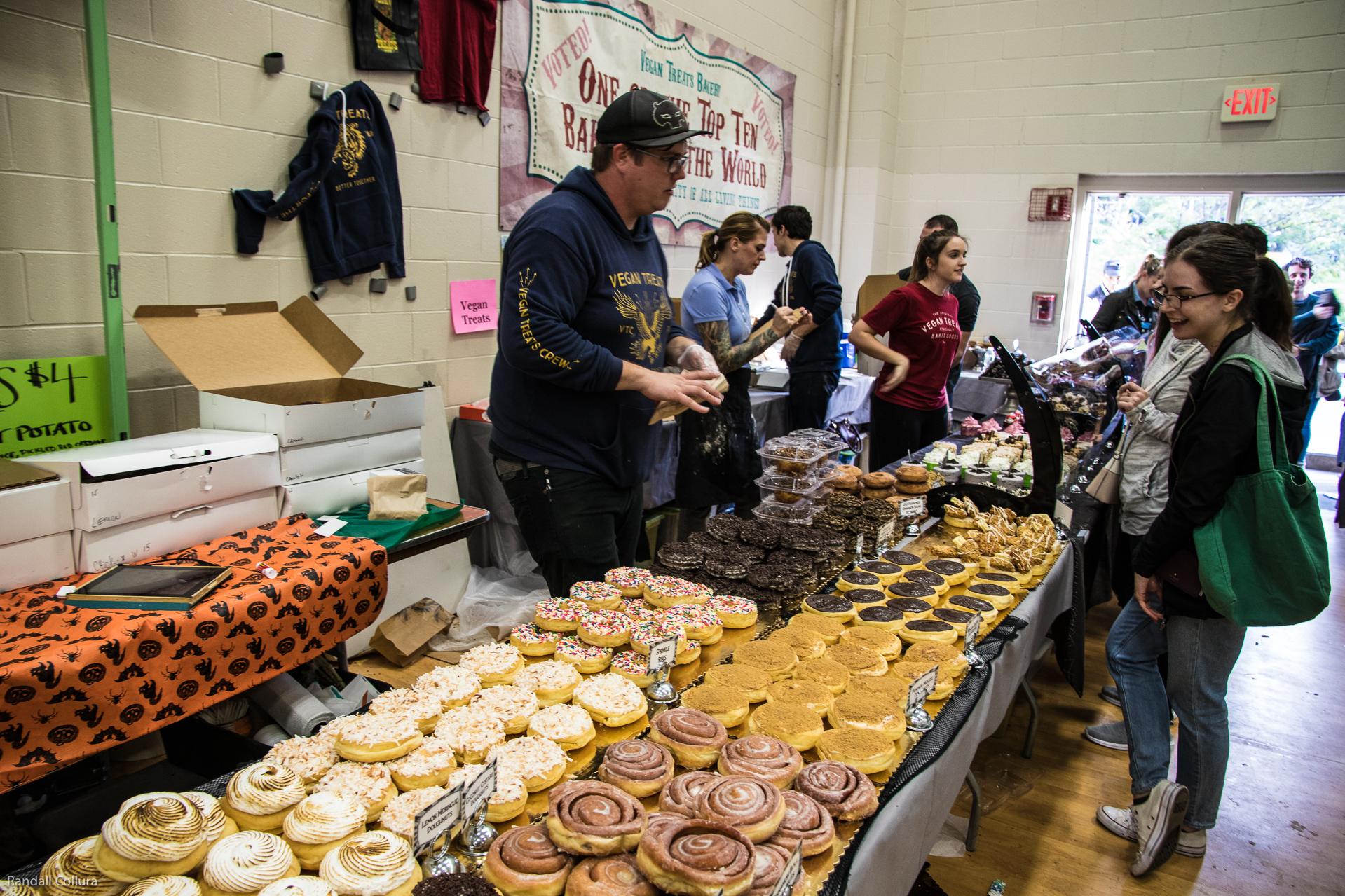 A huge display of amazing vegan doughnuts at Food Fest