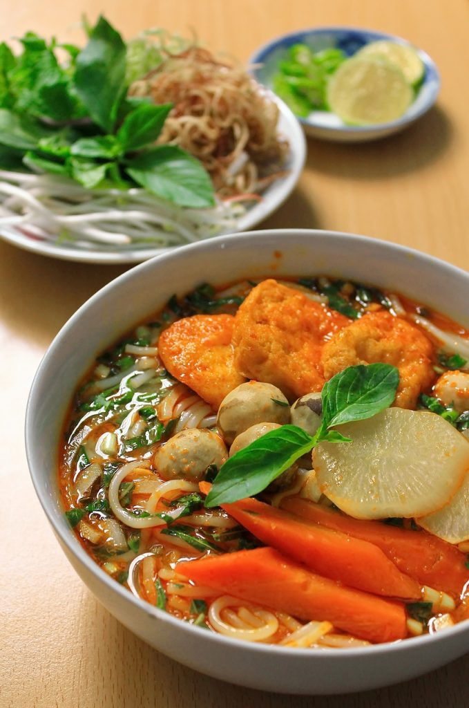 Vegetarian rice noodle and tofu soup
