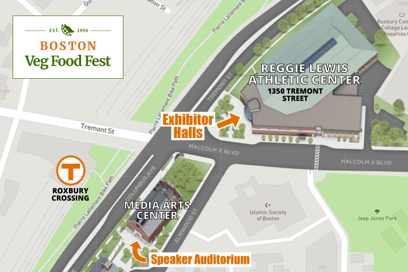 Map showing Reggie Lewis Athletic Center at 1350 Tremont Street