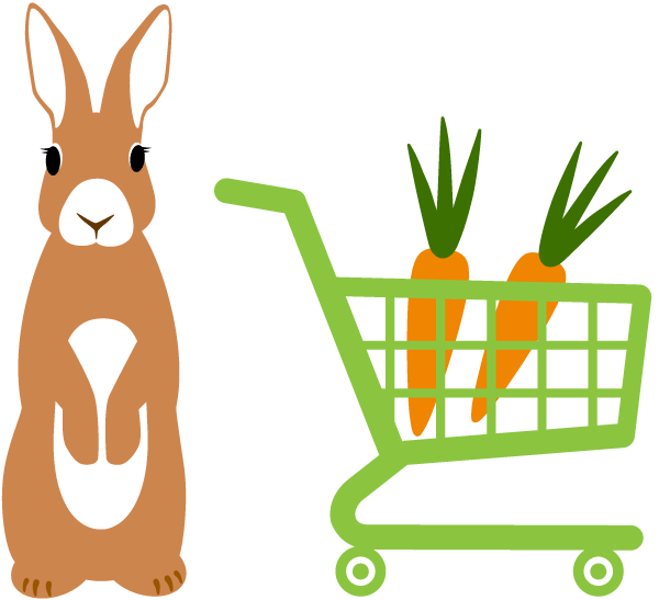 rabbit with shopping cart with carrots in it