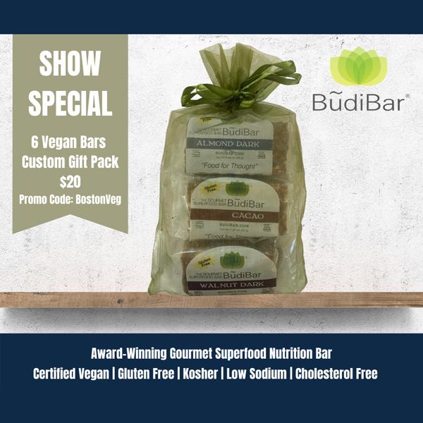 Budibar superfood nutrition bar, show special 6 vegan bars custom gift pack $20