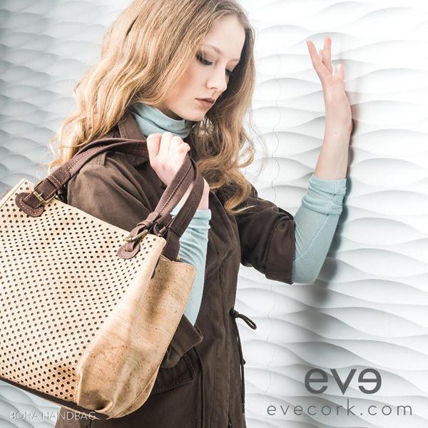 Eve Cork handbag held by a model