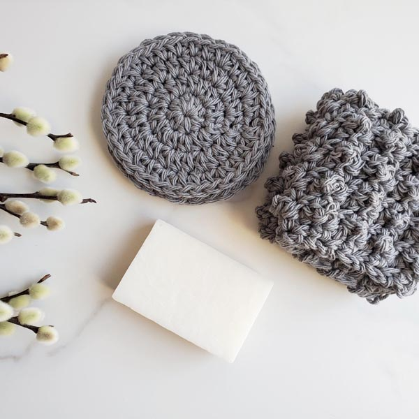 crocheted items and a bar of soap