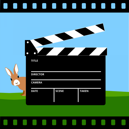 film clapper with a bunny