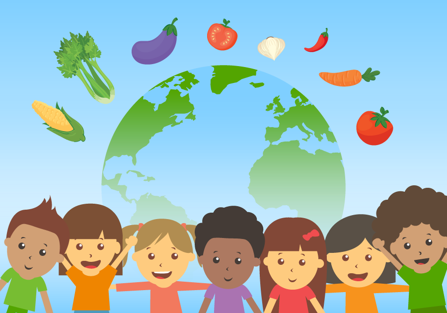 children smiling with a globe behind them and vegetables floating in the sky